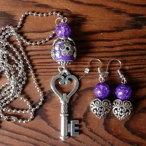 Skeleton Key Necklace and Heart Earring Set